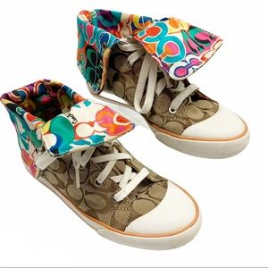 Coach Bonne colorful monogram high top sneakers 7